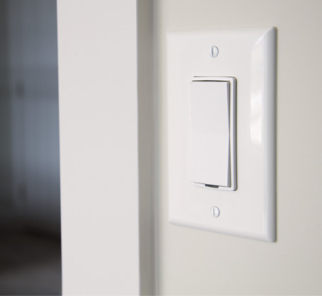 wireless switch mounted in wall